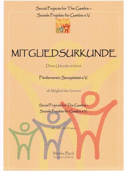 Mitgliedsurkunde Soziale Projekte für Gambia eV, Förderverein Soroptimist Insel Rügen e.V. Vorsitzende Christina Wuitschik